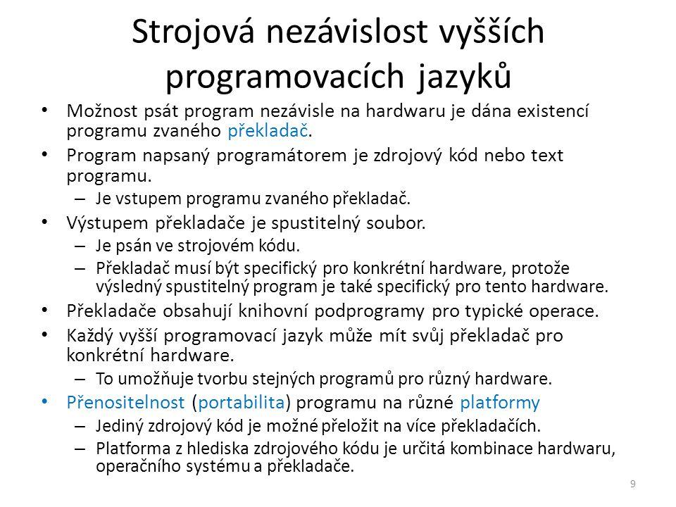 Strojová nezávislost vyšších programovacích jazyků Možnost psát program nezávisle na hardwaru je dána existencí programu zvaného překladač.