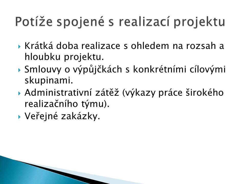  Krátká doba realizace s ohledem na rozsah a hloubku projektu.
