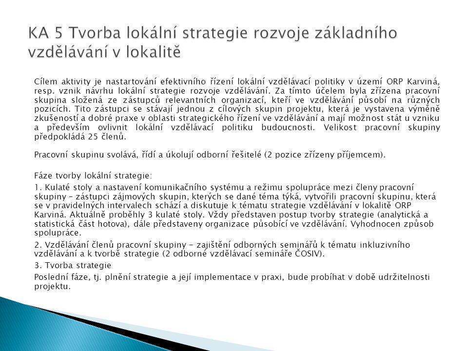 Cílem aktivity je nastartování efektivního řízení lokální vzdělávací politiky v území ORP Karviná, resp.