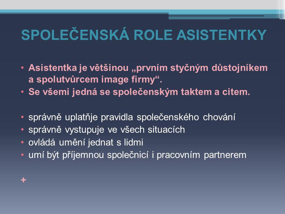 """SPOLEČENSKÁ ROLE ASISTENTKY Asistentka je většinou """"prvním styčným důstojníkem a spolutvůrcem image firmy ."""