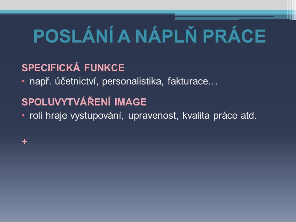 POSLÁNÍ A NÁPLŇ PRÁCE SPECIFICKÁ FUNKCE např.
