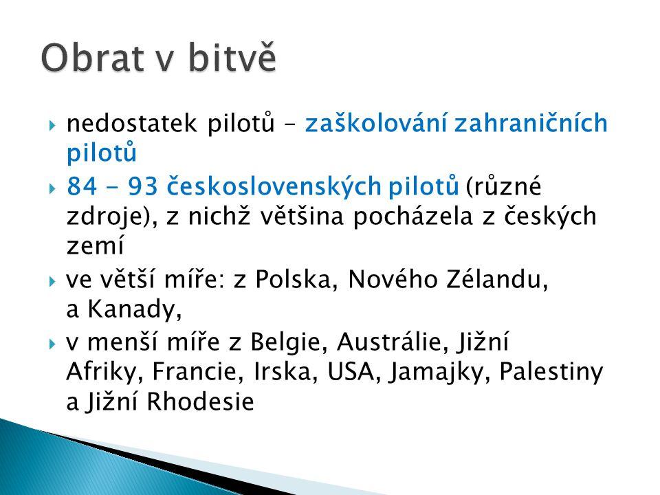  nedostatek pilotů – zaškolování zahraničních pilotů  84 - 93 československých pilotů (různé zdroje), z nichž většina pocházela z českých zemí  ve