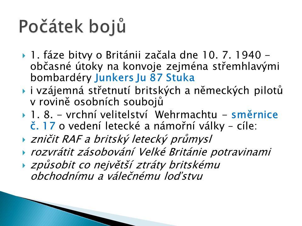  1. fáze bitvy o Británii začala dne 10. 7. 1940 - občasné útoky na konvoje zejména střemhlavými bombardéry Junkers Ju 87 Stuka  i vzájemná střetnut