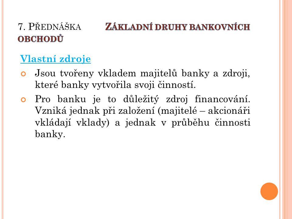 Vlastní zdroje Jsou tvořeny vkladem majitelů banky a zdroji, které banky vytvořila svoji činností.