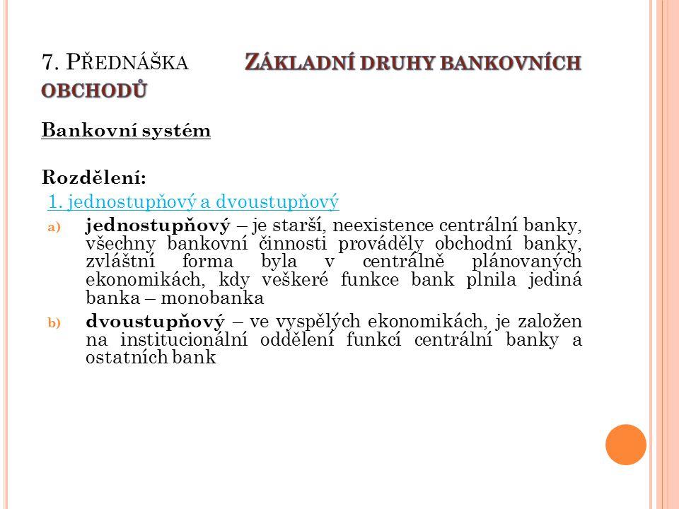 Bankovní systém Rozdělení: 1.