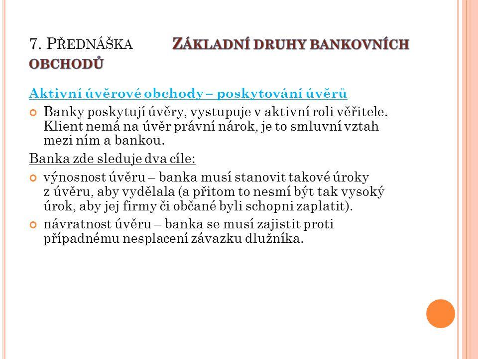 Aktivní úvěrové obchody – poskytování úvěrů Banky poskytují úvěry, vystupuje v aktivní roli věřitele.