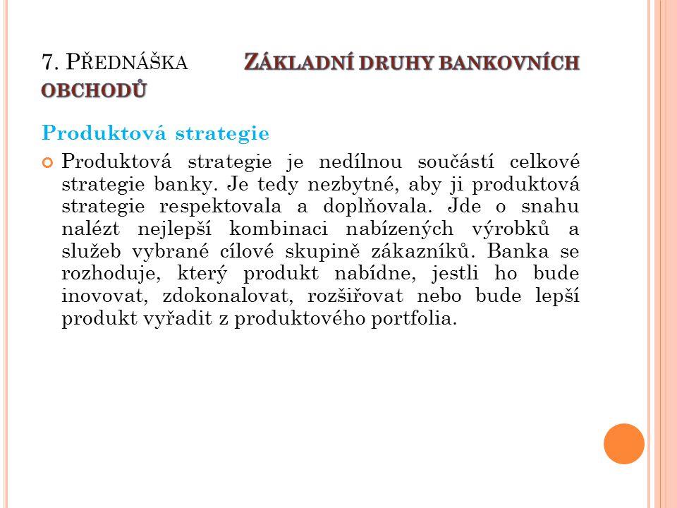Produktová strategie Produktová strategie je nedílnou součástí celkové strategie banky.