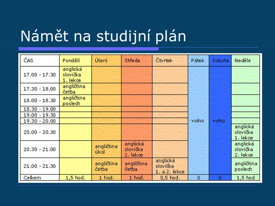 Námět na studijní plán