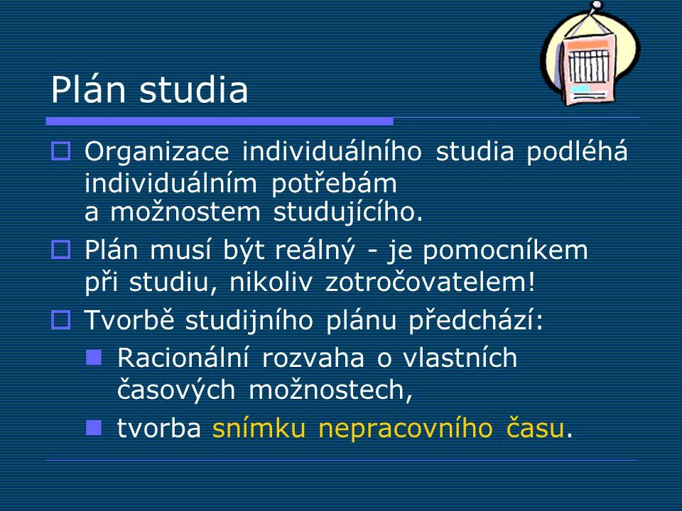 Plán studia  Organizace individuálního studia podléhá individuálním potřebám a možnostem studujícího.  Plán musí být reálný - je pomocníkem při stud