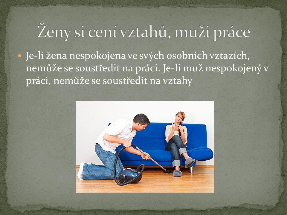 Je-li žena nespokojena ve svých osobních vztazích, nemůže se soustředit na práci. Je-li muž nespokojený v práci, nemůže se soustředit na vztahy