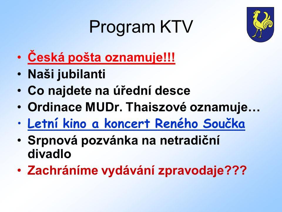 Program KTV Česká pošta oznamuje!!. Naši jubilanti Co najdete na úřední desce Ordinace MUDr.