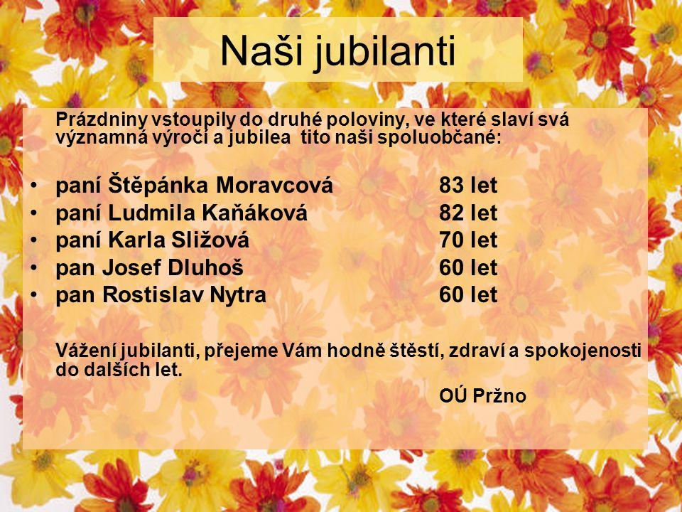 Naši jubilanti Prázdniny vstoupily do druhé poloviny, ve které slaví svá významná výročí a jubilea tito naši spoluobčané: paní Štěpánka Moravcová83 let paní Ludmila Kaňáková82 let paní Karla Sližová70 let pan Josef Dluhoš60 let pan Rostislav Nytra60 let Vážení jubilanti, přejeme Vám hodně štěstí, zdraví a spokojenosti do dalších let.