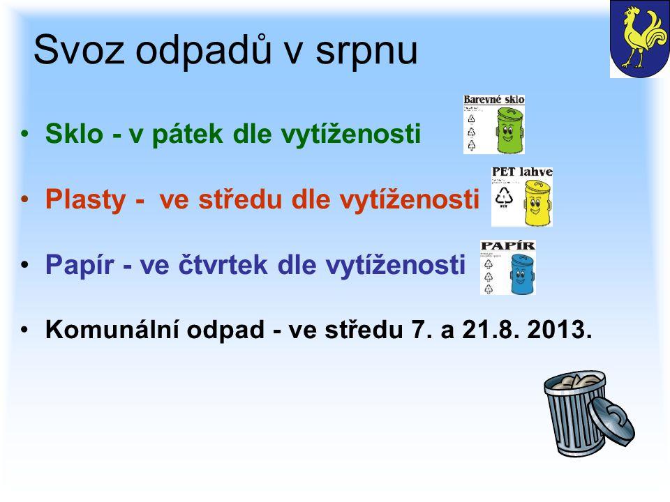 Svoz odpadů v srpnu Sklo - v pátek dle vytíženosti Plasty - ve středu dle vytíženosti Papír - ve čtvrtek dle vytíženosti Komunální odpad - ve středu 7.