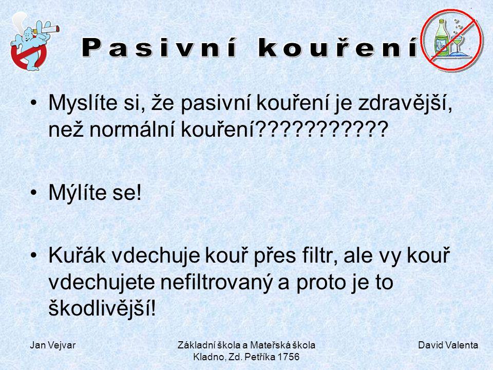 David Valenta Jan VejvarZákladní škola a Mateřská škola Kladno, Zd. Petříka 1756 Myslíte si, že pasivní kouření je zdravější, než normální kouření????