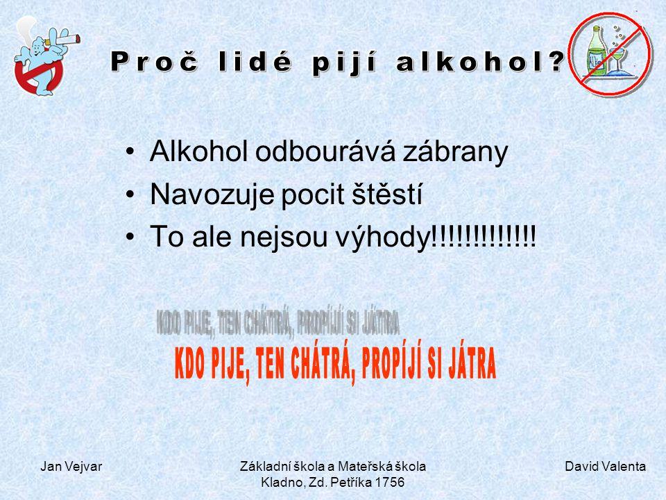 David Valenta Jan VejvarZákladní škola a Mateřská škola Kladno, Zd. Petříka 1756 Alkohol odbourává zábrany Navozuje pocit štěstí To ale nejsou výhody!