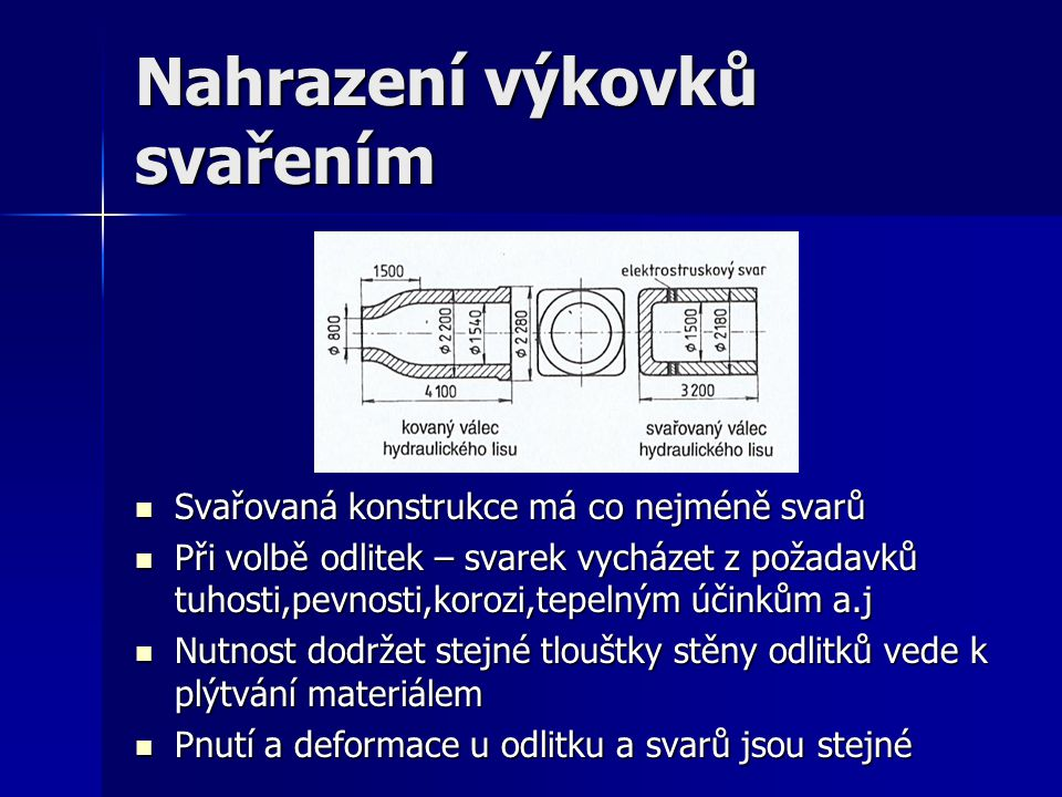 Nahrazení výkovků svařením Svařovaná konstrukce má co nejméně svarů Svařovaná konstrukce má co nejméně svarů Při volbě odlitek – svarek vycházet z pož