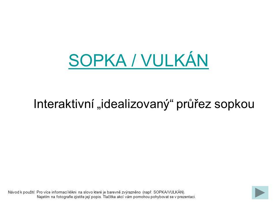 """SOPKA / VULKÁN Interaktivní """"idealizovaný"""" průřez sopkou Návod k použití: Pro více informací klikni na slovo které je barevně zvýrazněno (např. SOPKA/"""