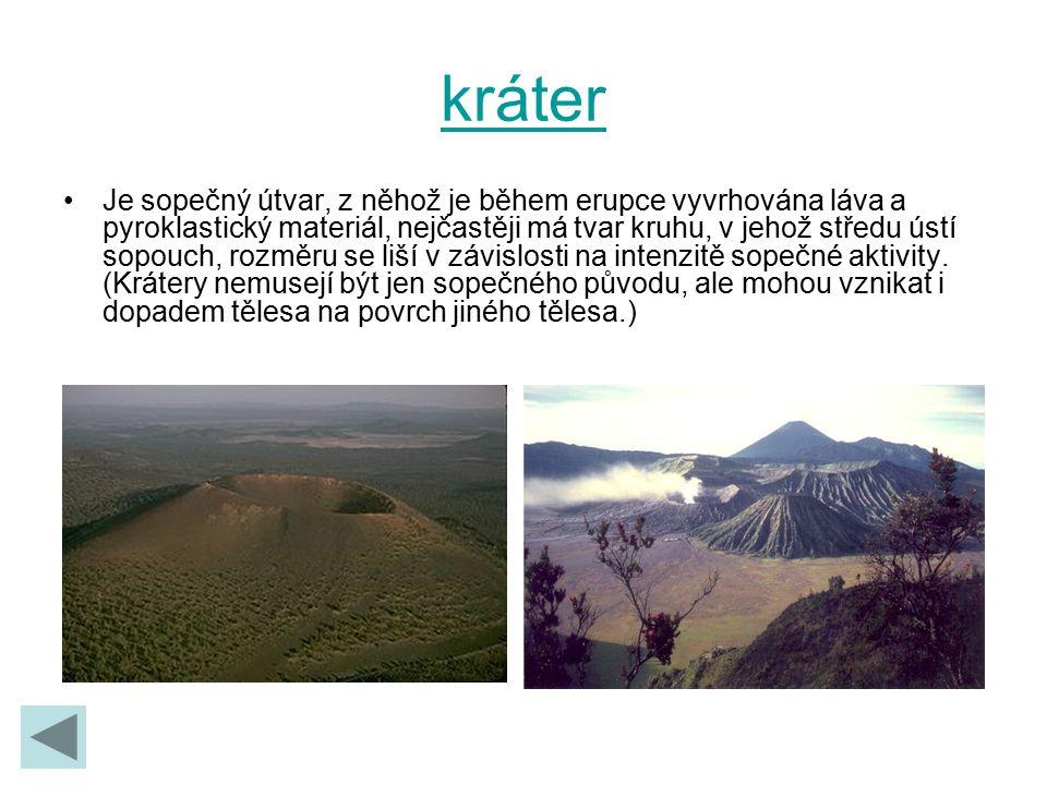 kráter Je sopečný útvar, z něhož je během erupce vyvrhována láva a pyroklastický materiál, nejčastěji má tvar kruhu, v jehož středu ústí sopouch, rozm
