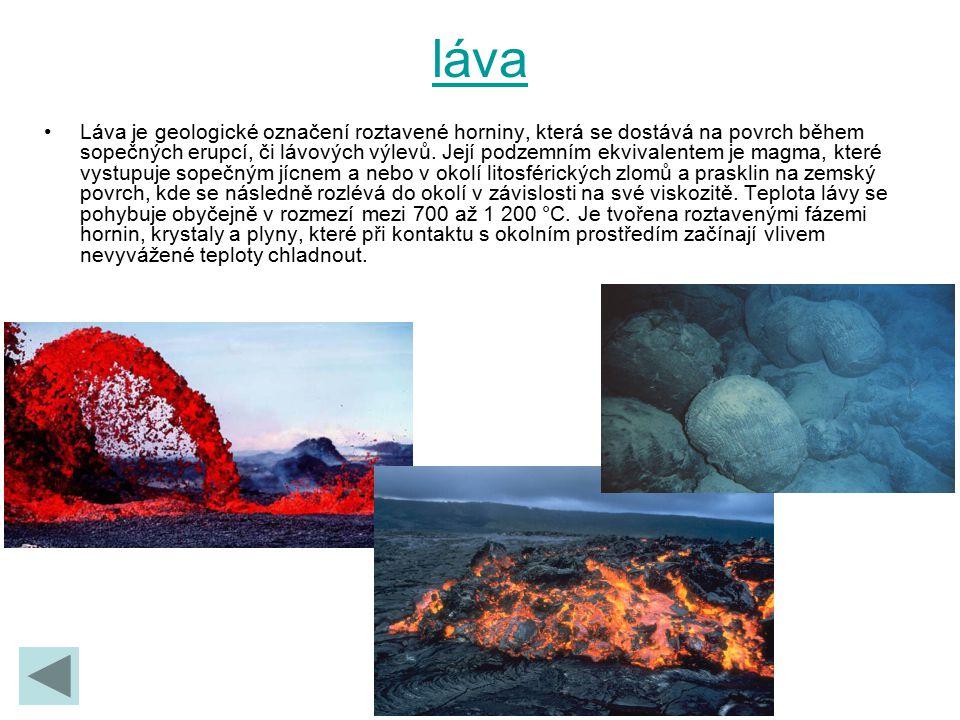 láva Láva je geologické označení roztavené horniny, která se dostává na povrch během sopečných erupcí, či lávových výlevů. Její podzemním ekvivalentem