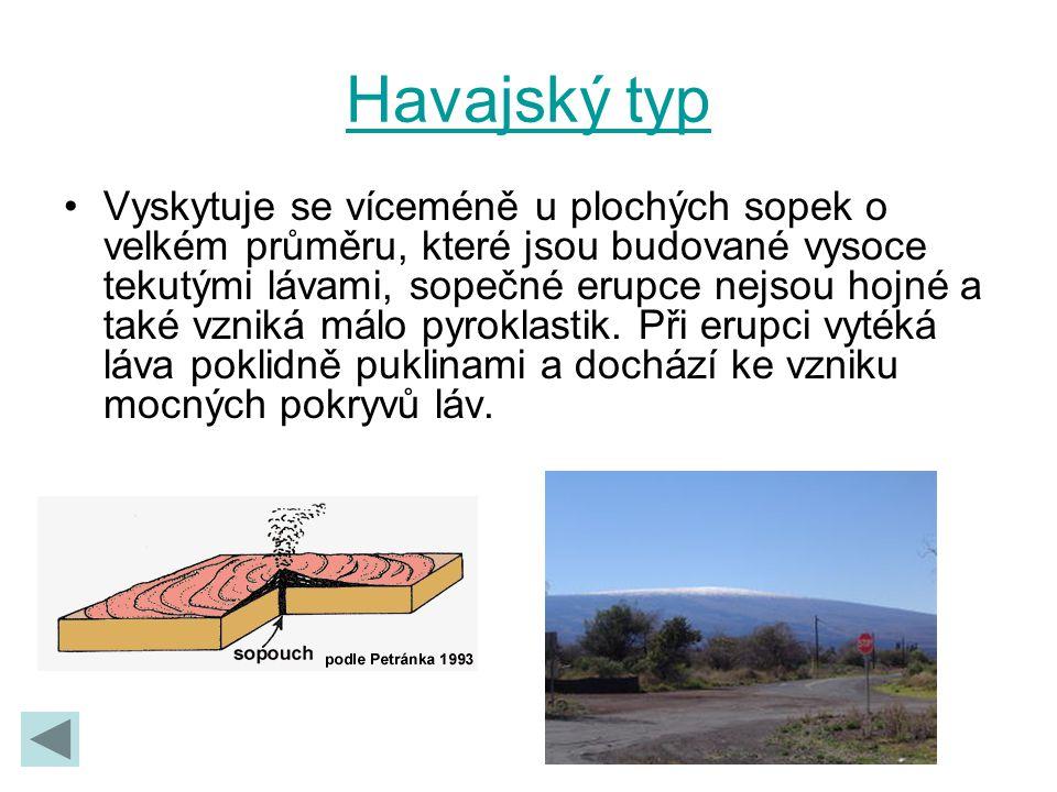 Havajský typ Vyskytuje se víceméně u plochých sopek o velkém průměru, které jsou budované vysoce tekutými lávami, sopečné erupce nejsou hojné a také v