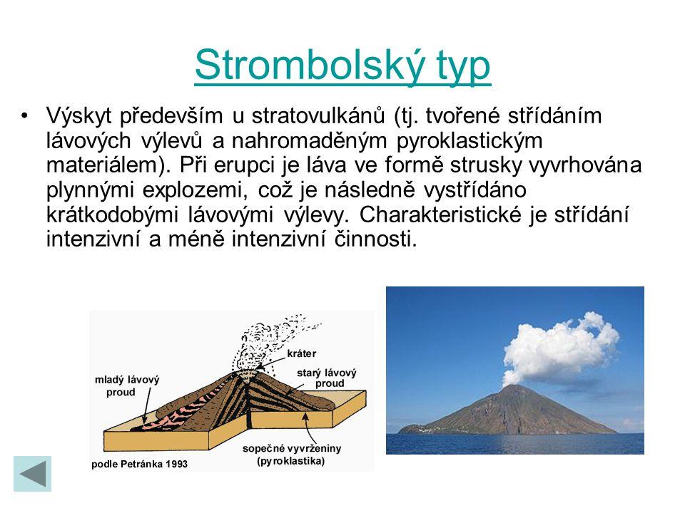 Strombolský typ Výskyt především u stratovulkánů (tj. tvořené střídáním lávových výlevů a nahromaděným pyroklastickým materiálem). Při erupci je láva