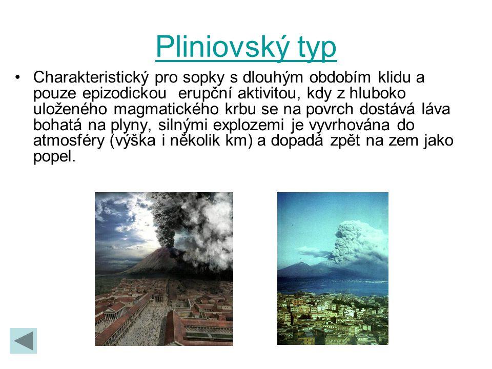 Pliniovský typ Charakteristický pro sopky s dlouhým obdobím klidu a pouze epizodickou erupční aktivitou, kdy z hluboko uloženého magmatického krbu se