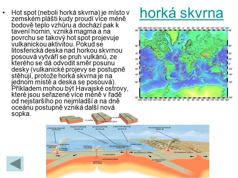 horká skvrna Hot spot (neboli horká skvrna) je místo v zemském plášti kudy proudí více méně bodově teplo vzhůru a dochází pak k tavení hornin, vzniká