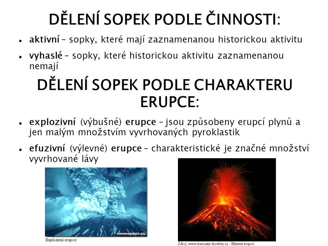 ZAJÍMAVOSTI největší výbuch – sopka Toba (kaldera o délce asi 100 km a šířce asi 35 km) nejničivější erupce – sopka Tambora v Indonésii v roce 1815 (zahynulo asi 92 000 lidí) nejvýznamnější sopky: Etna (poslední výbuch v roce 2011), Vesuv a Stromboli