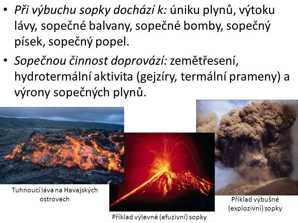 Při výbuchu sopky dochází k: úniku plynů, výtoku lávy, sopečné balvany, sopečné bomby, sopečný písek, sopečný popel. Sopečnou činnost doprovází: zemět