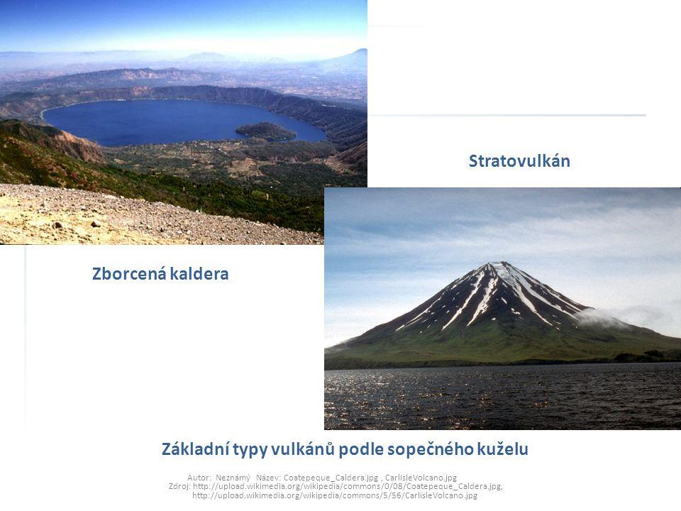 Stratovulkán Zborcená kaldera Základní typy vulkánů podle sopečného kuželu Autor: Neznámý Název: Coatepeque_Caldera.jpg, CarlisleVolcano.jpg Zdroj: ht