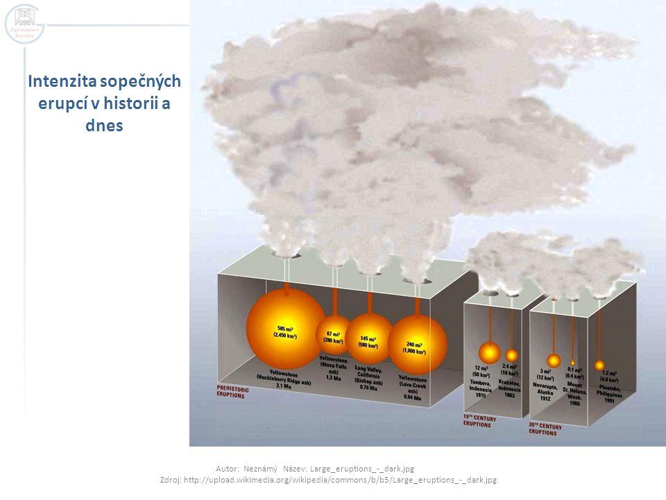 Intenzita sopečných erupcí v historii a dnes Autor: Neznámý Název: Large_eruptions_-_dark.jpg Zdroj: http://upload.wikimedia.org/wikipedia/commons/b/b