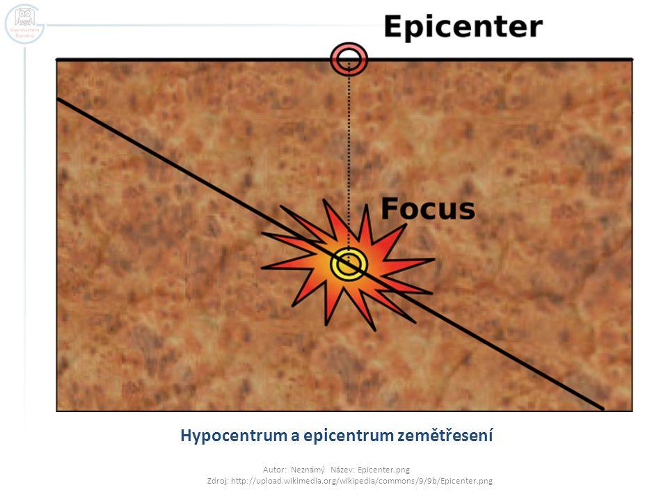 Hypocentrum a epicentrum zemětřesení Autor: Neznámý Název: Epicenter.png Zdroj: http://upload.wikimedia.org/wikipedia/commons/9/9b/Epicenter.png
