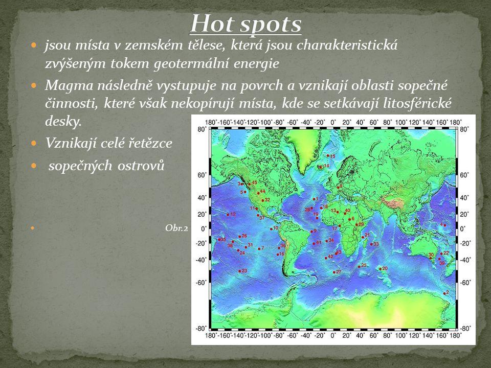 jsou místa v zemském tělese, která jsou charakteristická zvýšeným tokem geotermální energie Magma následně vystupuje na povrch a vznikají oblasti sopečné činnosti, které však nekopírují místa, kde se setkávají litosférické desky.