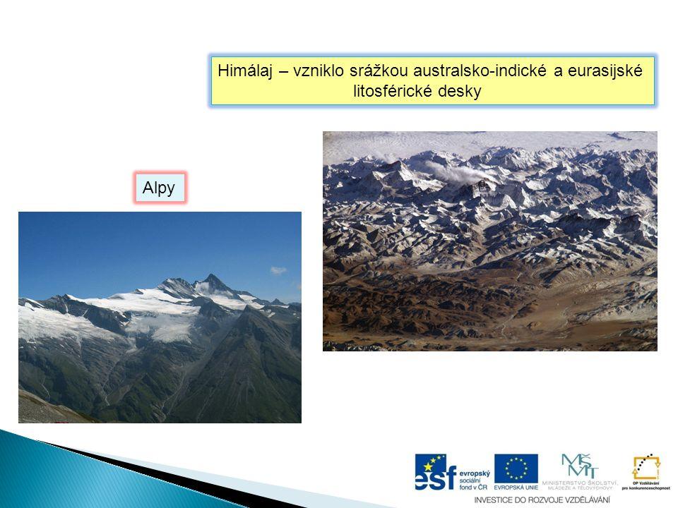Himálaj – vzniklo srážkou australsko-indické a eurasijské litosférické desky Alpy