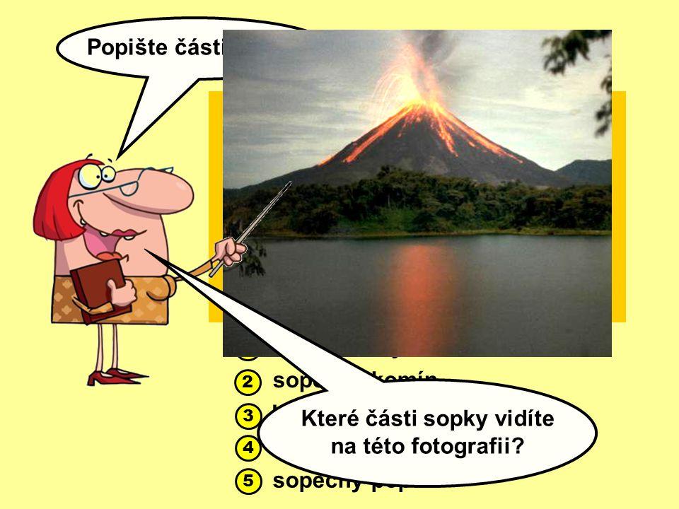 Popište části sopky: 1 2 3 5 4 1 2 3 5 4 magmatický krb sopečný komín kráter láva sopečný popel Které části sopky vidíte na této fotografii?