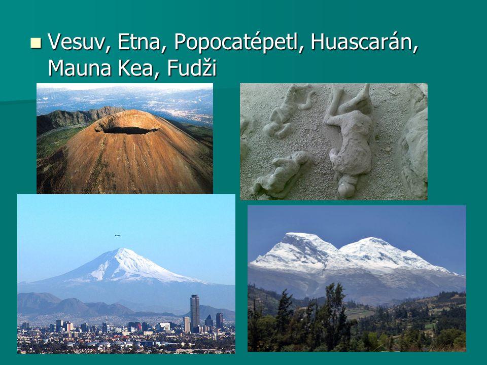 Vesuv, Etna, Popocatépetl, Huascarán, Mauna Kea, Fudži Vesuv, Etna, Popocatépetl, Huascarán, Mauna Kea, Fudži