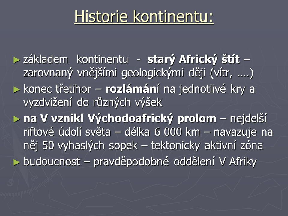 Historie kontinentu: ► základem kontinentu - starý Africký štít – zarovnaný vnějšími geologickými ději (vítr, ….) ► konec třetihor – rozlámání na jedn