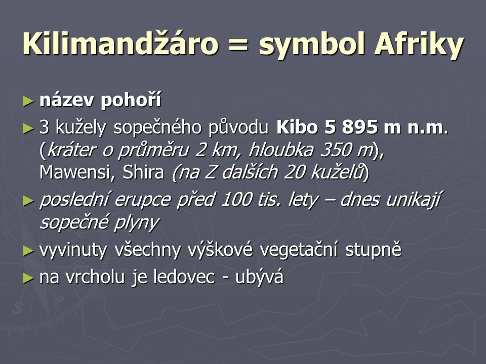 Kilimandžáro = symbol Afriky ► název pohoří ► 3 kužely sopečného původu Kibo 5 895 m n.m. (kráter o průměru 2 km, hloubka 350 m), Mawensi, Shira (na Z