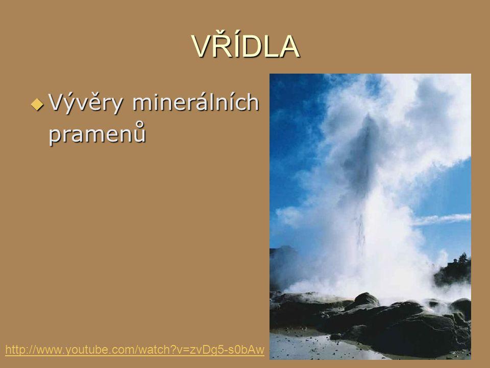 VŘÍDLA  Vývěry minerálních pramenů http://www.youtube.com/watch?v=zvDg5-s0bAw