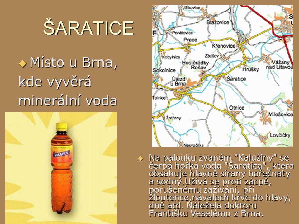 ŠARATICE  Místo u Brna, kde vyvěrá minerální voda  Na palouku zvaném