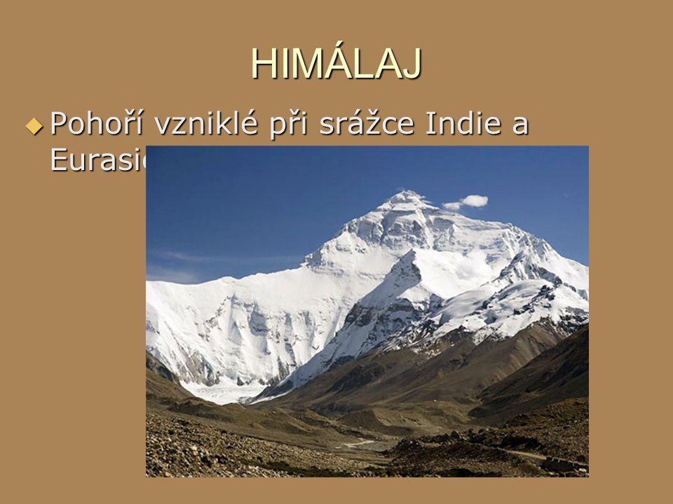 HIMÁLAJ  Pohoří vzniklé při srážce Indie a Eurasie