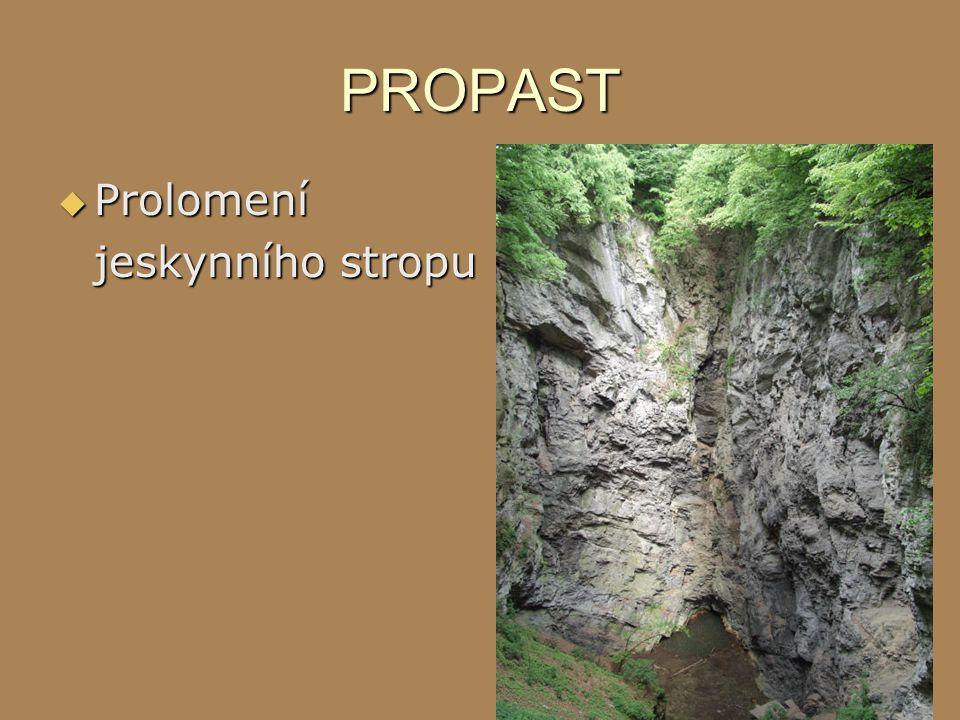 PROPAST  Prolomení jeskynního stropu