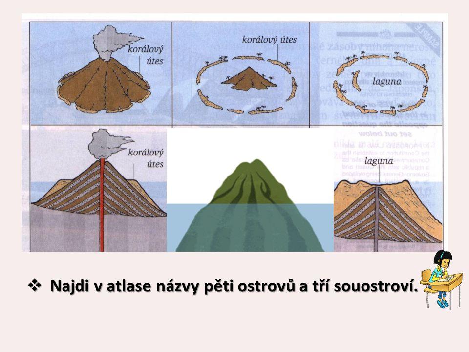  Najdi v atlase názvy pěti ostrovů a tří souostroví.