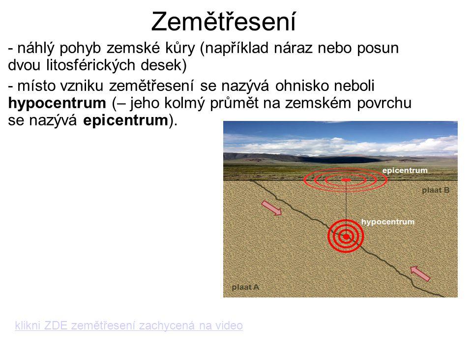 Zemětřesení - náhlý pohyb zemské kůry (například náraz nebo posun dvou litosférických desek) - místo vzniku zemětřesení se nazývá ohnisko neboli hypoc