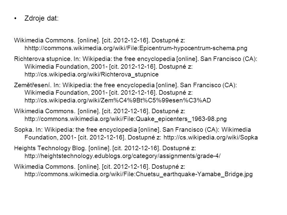 Zdroje dat: Wikimedia Commons. [online]. [cit. 2012-12-16]. Dostupné z: hhttp://commons.wikimedia.org/wiki/File:Epicentrum-hypocentrum-schema.png Rich