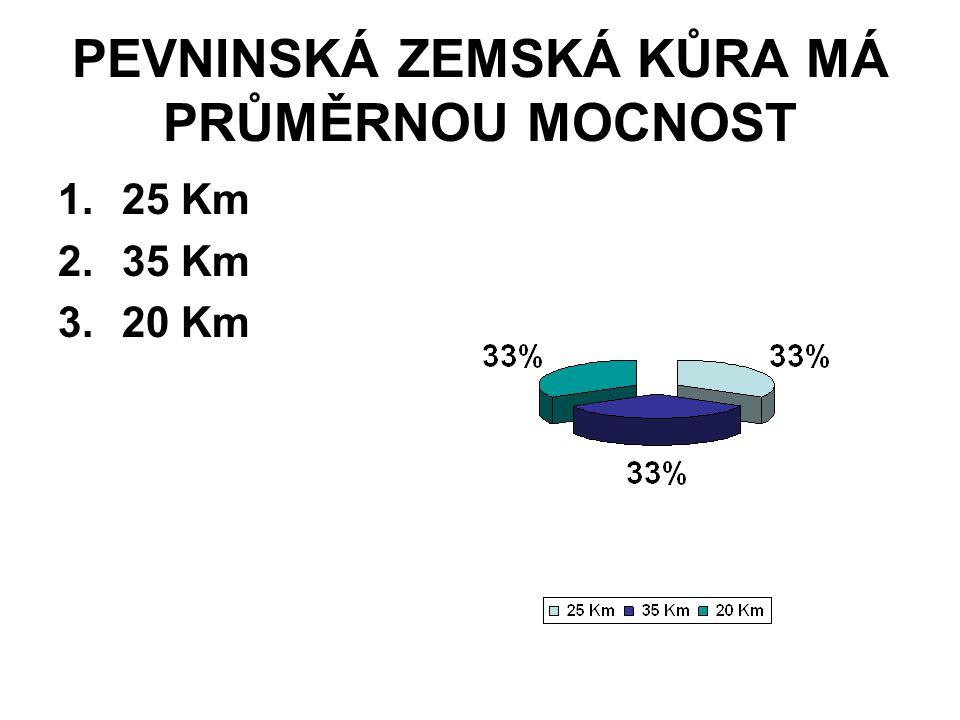 PEVNINSKÁ ZEMSKÁ KŮRA MÁ PRŮMĚRNOU MOCNOST 1.25 Km 2.35 Km 3.20 Km