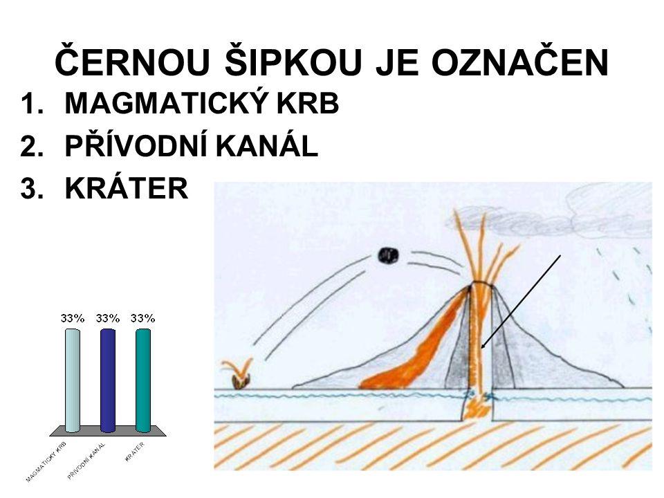ČERNOU ŠIPKOU JE OZNAČEN 1.MAGMATICKÝ KRB 2.PŘÍVODNÍ KANÁL 3.KRÁTER