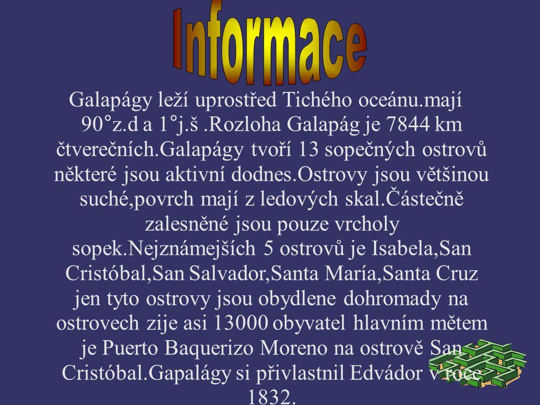 Galapágy leží uprostřed Tichého oceánu.mají 90°z.d a 1°j.š.Rozloha Galapág je 7844 km čtverečních.Galapágy tvoří 13 sopečných ostrovů některé jsou akt