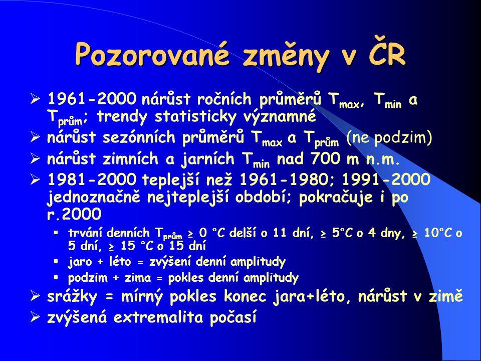 Pozorované změny v ČR  1961-2000 nárůst ročních průměrů T max, T min a T prům ; trendy statisticky významné  nárůst sezónních průměrů T max a T prům