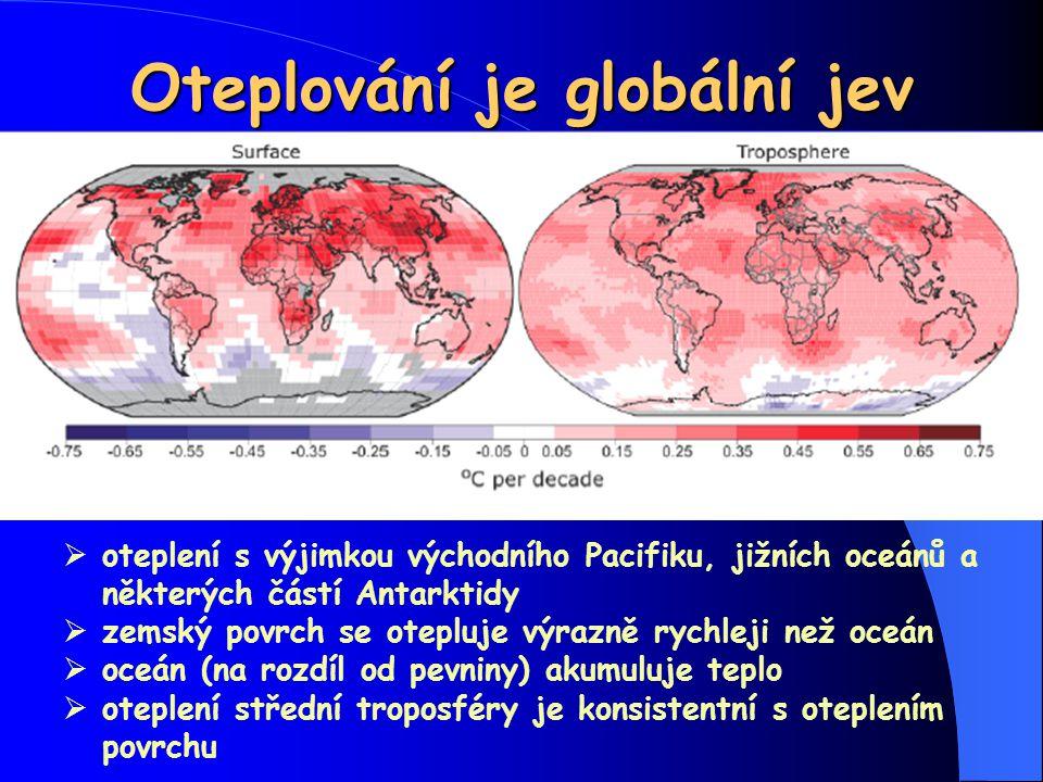 Oteplování je globální jev  oteplení s výjimkou východního Pacifiku, jižních oceánů a některých částí Antarktidy  zemský povrch se otepluje výrazně